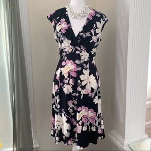 Chaps floral V-neck sleeveless fit and flare dress